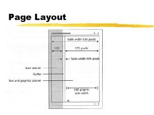 Page Layout Page Layout z Design for Screens