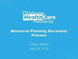 Advanced Planning Document Process Adolph Maren April 24