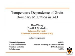 Temperature Dependence of Grain Boundary Migration in 3