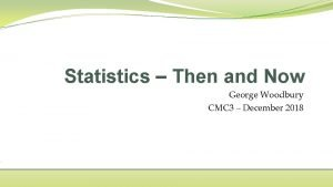 Statistics Then and Now George Woodbury CMC 3