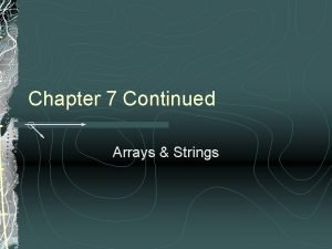 Chapter 7 Continued Arrays Strings Arrays of Structures