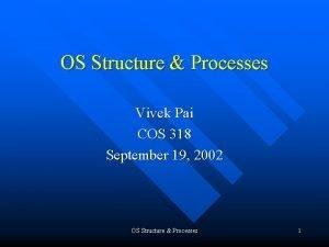 OS Structure Processes Vivek Pai COS 318 September