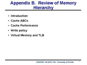 Appendix B Review of Memory Hierarchy Introduction Cache