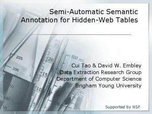 SemiAutomatic Semantic Annotation for HiddenWeb Tables Cui Tao