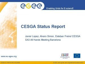 Enabling Grids for Escienc E CESGA Status Report