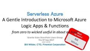 Serverless Azure A Gentle Introduction to Microsoft Azure