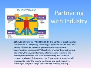 Partnering with Industry BECAUSE of industry PARNTERNSHIPS the