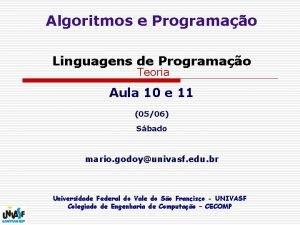 Algoritmos e Programao Linguagens de Programao Teoria Aula