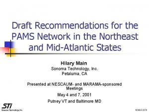 Draft Recommendations for the PAMS Network in the
