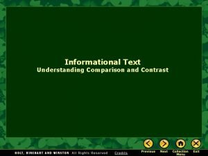 Informational Text Understanding Comparison and Contrast Comparison and