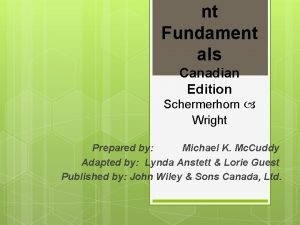 nt Fundament als Canadian Edition Schermerhorn Wright Prepared