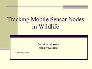 Tracking Mobile Sensor Nodes in Wildlife Francine Lalooses