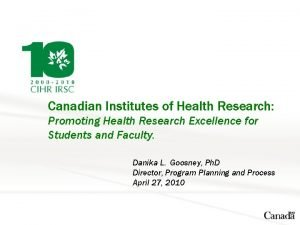Canadian Institutes of Health Research Promoting Health Research
