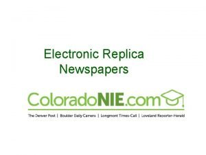 Electronic Replica Newspapers Identical to the print edition