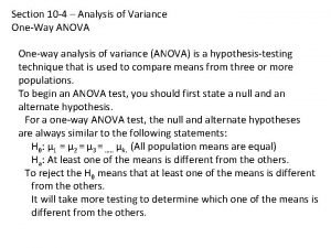 Section 10 4 Analysis of Variance OneWay ANOVA
