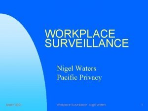 WORKPLACE SURVEILLANCE Nigel Waters Pacific Privacy March 2001