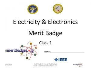Electricity Electronics Merit Badge Class 1 Name 9262020