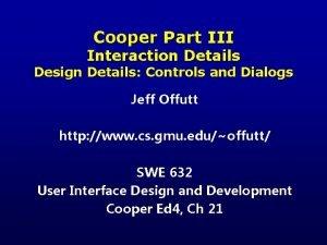 Cooper Part III Interaction Details Design Details Controls