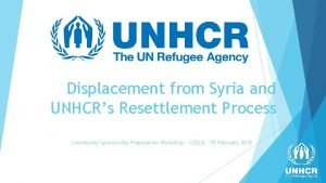 Displacement from Syria and UNHCRs Resettlement Process Community