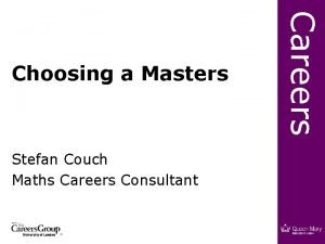 Stefan Couch Maths Careers Consultant Careers Choosing a