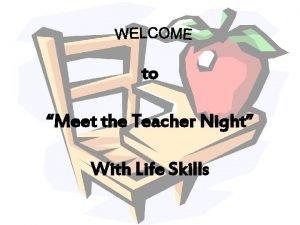 to Meet the Teacher Night With Life Skills