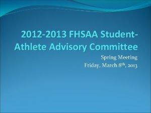 2012 2013 FHSAA Student Athlete Advisory Committee Spring