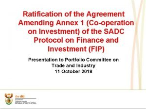 Ratification of the Agreement Amending Annex 1 Cooperation