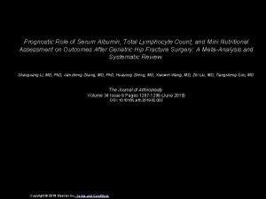 Prognostic Role of Serum Albumin Total Lymphocyte Count