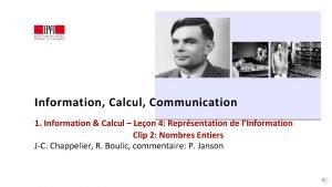 Information Calcul Communication 1 Information Calcul Leon 4