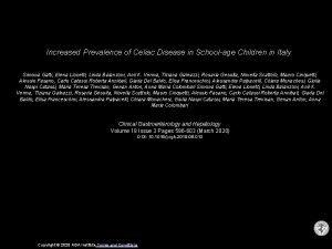 Increased Prevalence of Celiac Disease in Schoolage Children