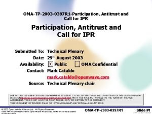 OMATP2003 0397 R 1 Participation Antitrust and Call