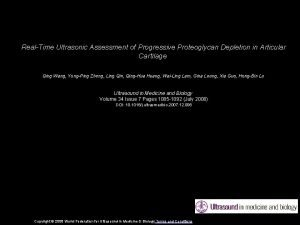 RealTime Ultrasonic Assessment of Progressive Proteoglycan Depletion in