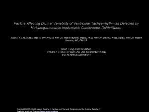 Factors Affecting Diurnal Variability of Ventricular Tachyarrhythmias Detected