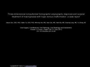 Threedimensional computerized tomographic angiography diagnosis and surgical treatment