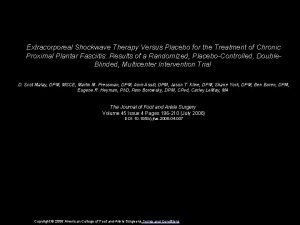 Extracorporeal Shockwave Therapy Versus Placebo for the Treatment