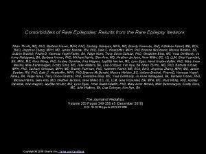 Comorbidities of Rare Epilepsies Results from the Rare
