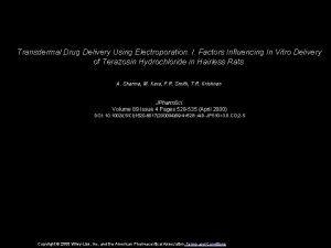 Transdermal Drug Delivery Using Electroporation I Factors Influencing