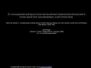Ex vivoexpanded autologous bone marrowderived mesenchymal stromal cells