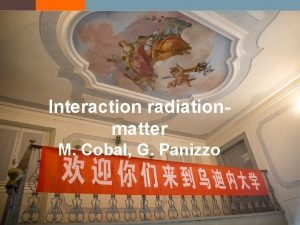Interaction radiationmatter M Cobal G Panizzo Particles matter