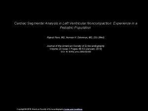 Cardiac Segmental Analysis in Left Ventricular Noncompaction Experience