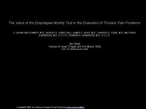 The Value of the Esophageal Motility Test in