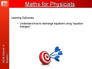 Maths For Physicists Maths for Physicists Learning Outcomes