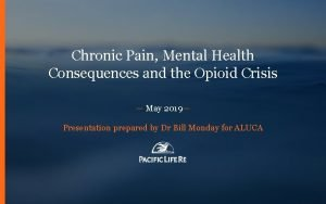 FOR INTERNAL USE ONLY PRIVATE CONFIDENTIAL Chronic Pain