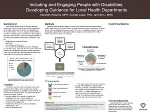 Including and Engaging People with Disabilities Developing Guidance