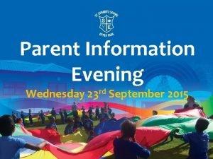 Parent Information Evening Wednesday 23 rd September 2015