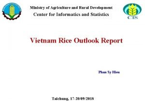 Ministry of Agriculture and Rural Development Center for