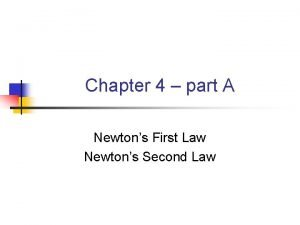 Chapter 4 part A Newtons First Law Newtons