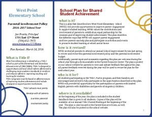 West Point Elementary School Parental Involvement Policy 2016