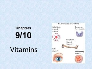 Chapters 910 Vitamins Understanding Vitamins A few myths