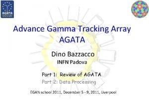 Advance Gamma Tracking Array AGATA Dino Bazzacco INFN